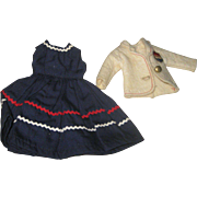 Cute Tagged Vogue Doll Navy dress & Jacket with Crest