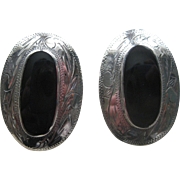 Beautiful Large Vintage Southwestern Sterling Silver & Black Onyx Concho Earrings Signed