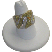 REDUCED Magnificent 18k White Gold and Canary Yellow Diamond Pave' Ring