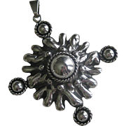 Large Vintage Sterling Silver Taxco Mexico Pendant