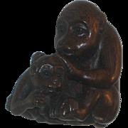 Very old Chinese Boxwood Netsuke Bead Monkey or Ape with Baby Signed