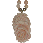Vintage Carved Angel skin Coral Beaded Necklace with Rose Pendant