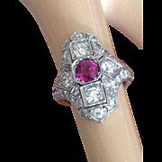 Art Deco Platinum, Diamond and Pink Sapphire Ring
