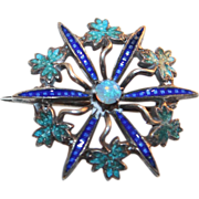 Lovely Victorian Sterling Enamel Brooch with Opal Center