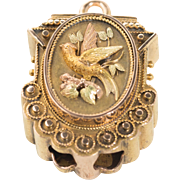 Wonderful Victorian Pendant - Bird with Rose and Yellow Gold Wings