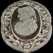 14k White Gold Filigree Stone Cameo with Diamonds