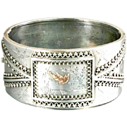 Victorian Sterling Bracelet With Gold Overlay Bird