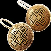 Victorian Gold Black Enamel Earrings With  Geometric Design
