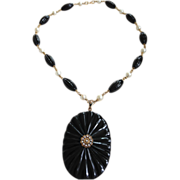 Victorian 14k Onyx, Pearl and Enamel Necklace