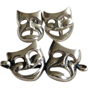Beau Sterling Silver Comedy and Tragedy Pin and Earrings