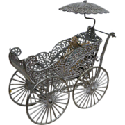 Original 19ThC German Soft Metal Pram in Rarer Large Size