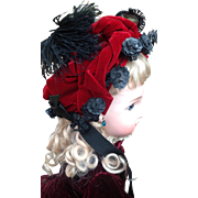 19thC wired Dolls Bonnet with Original Label
