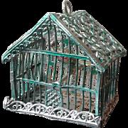 Antique German soft metal dolls house bird cage