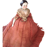 SALE PENDING 1860s Parian dolls house doll with original clothing.