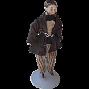 SALE PENDING 1860s Parian dolls house man in original clothing
