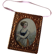 Miniature print in gilt frame for dolls house.