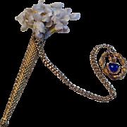 19thC gilt metal post holder for fashion dolls