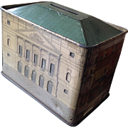 Queen Mary's Dollshouse tinplate money box circ 1920s with key