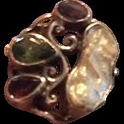 SALE Garnet, Amethyst, and Green Peridot Ring.
