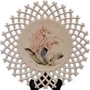 Atterbury Lattice Edge Milk Glass Plate with formal pattern