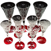 SALE Winston Etched Stemmed Glasses with red Bases