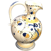 SALE Cream, Yellow, Blue,  German Pitcher Very Old