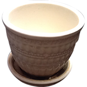 SOLD White Woven McCoy Flower Pot with Attached  Saucer