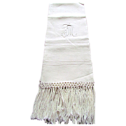 Heavy Linen Monogrammed FM Fringed Show Towel