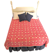 Dollhouse Miniature Artisan Dressed Bed with Handwoven Red & White Ribbon and Roses Coverlet 1