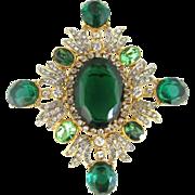 Robert Lane Faux Emerald and Clear Rhinestone Brooch/Pin