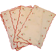 Six Vintage Madeira Linen Embroidered Cherries Cocktail Napkins