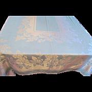 Turquoise Damask  Tablecloth and 12 Napkins Cotton and Rayon