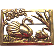 Coro Sterling Silver Swans and Cattails Brooch