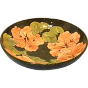 "10 1/2"" Moorcroft Bowl With Coral Hibiscus on Olive Background"