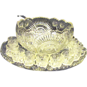SOLD EAPG Slewed Horseshoe Punch Bowl, Stand, Cups and Glass Ladle