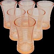 Six Pink Depression Glass Shot Glasses