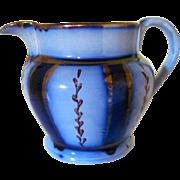 Antique Flow Blue and Copper Lustre Wagon Wheel Cream Pitcher