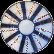 Antique Flow Blue and Copper Lustre Wagon Wheel Soup Plates