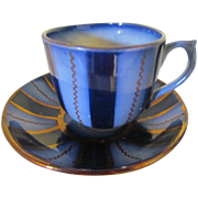 Wagon Wheel Flow Blue and Copper Lustre Cup and Saucer