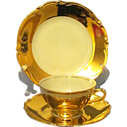 Gold Overlay Porcelain Trio by Rudolf Wachter, Bavaria