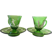 Czech Emerald Green Crystal Demitasse Cups and Saucers Mary Gregory Hand Painted