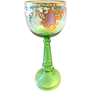 Bohemian Tall Green Ribbed Stem Roemer Glass Silver and Gold Enameled