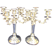 Two 4 Arm 5 Cup Silver Plate Candelabra 1940s Edward San Giovanni
