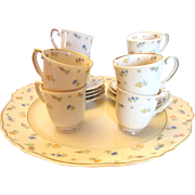 Syracuse China Suzanne Pattern Demitasse Cups Saucers and Plate