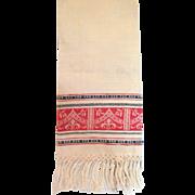 Vintage Linen Damask Butler's Towel With Hand Knotted Fringe