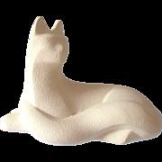 Royal Haeger White Sand Finish Cat Figurine