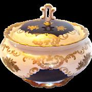 Vintage Reichenbach GDR Echt Kobalt Lidded Porcelain Box