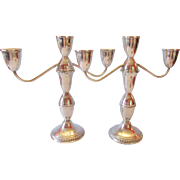 Sterling Silver Three Cup Convertible Candelabra by Duchin
