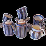 Antique Staffordshire Wagon Wheel Copper Lustre Flow Blue Child's Tea Set 17 Pcs