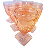 Eight Anchor Hocking Pink Miss America Wine Goblets